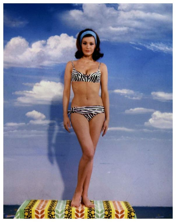 Claudine Auger striped bikini full-length soft