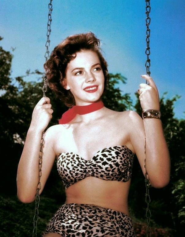 Natalie Wood leopard print bikini on swing