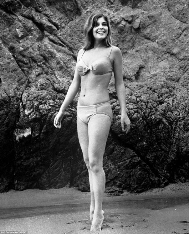 Christina Ferrare, hits the beach in a bikini in 1967