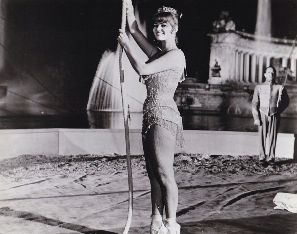CLAUDIA CARDINALE Leggy Acrobat Rome 1963 CIRCUS WORLD Photo