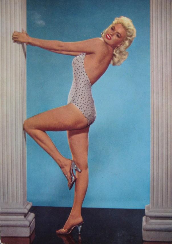 JAYNE MANSFIELD c1960 pinup swimsuit bikini beach