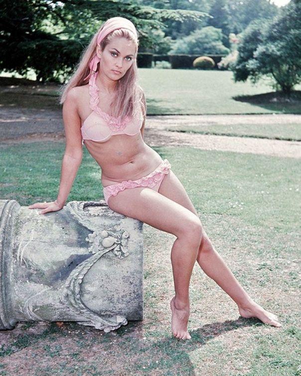 Alexandra Bastedo pink bikini