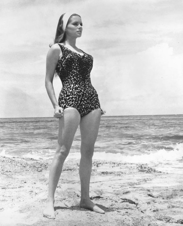 Luciana Paluzzi one-piece beach