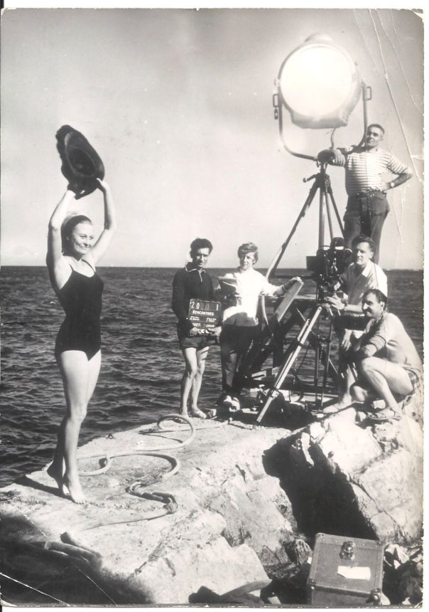 MICHELE MORGAN SWIMSUIT RENCONTRES on FILMING SET ORIG B:W FR PHOTO