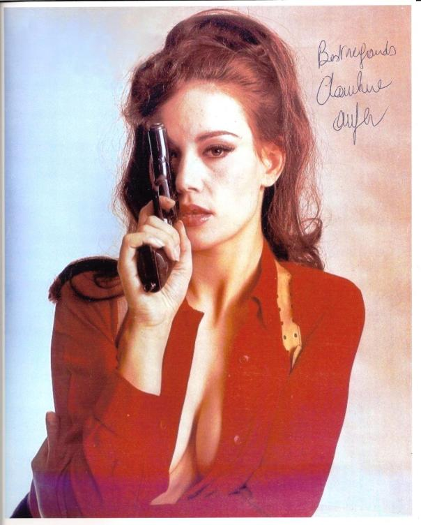 Claudine Auger autograph gun red top