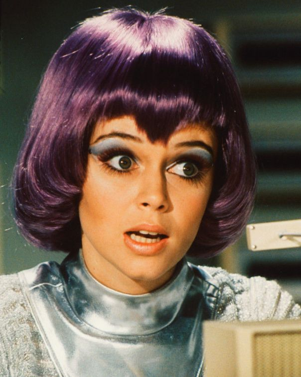 Gabrielle Drake 24x36 Color Poster UFO tv series in purple wig