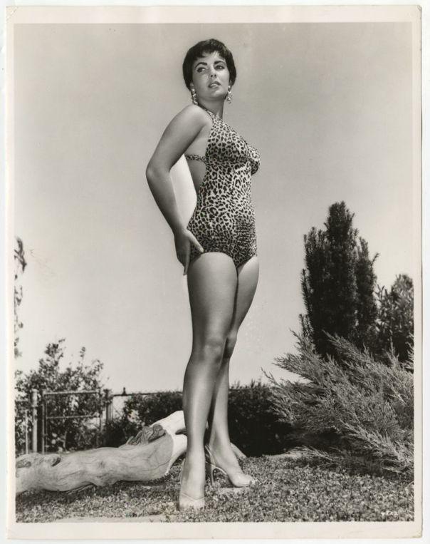 Elizabeth Taylor leopard skin print swimsuit