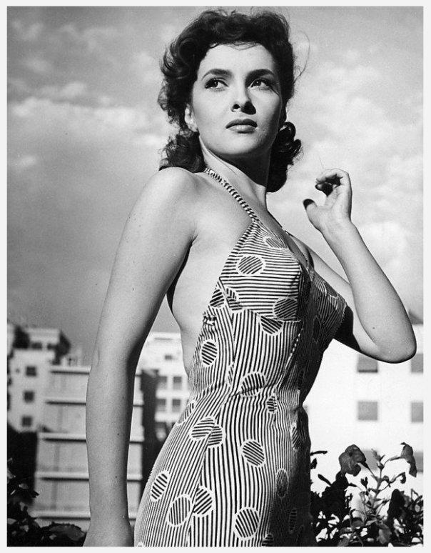 Gina Lolobrigida swimsuit striped