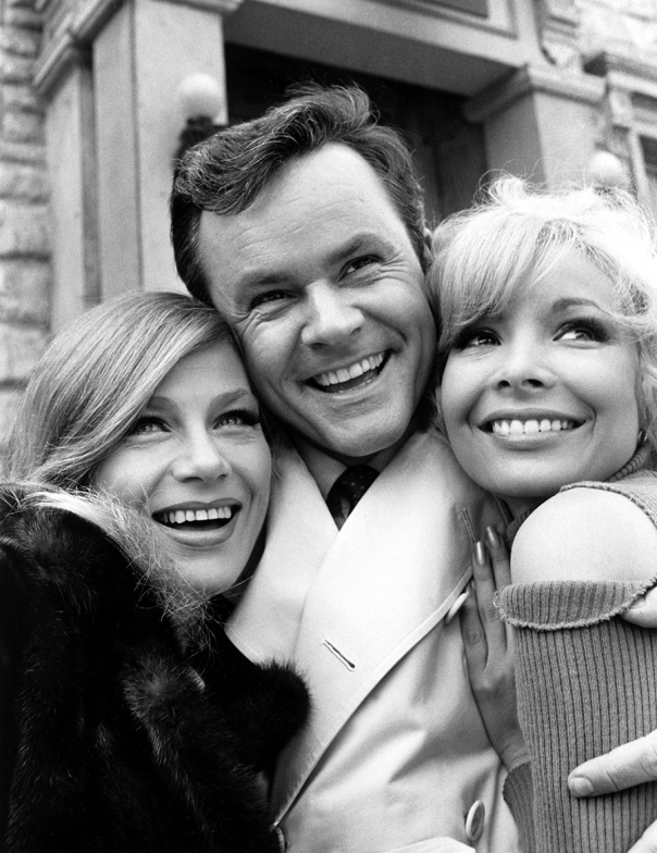 HOGAN'S HEROES, Nita Talbot, Bob Crane, Arlene Martel, on-set of 'A Tiger Hunt in Paris, Pt. 1 & 2',